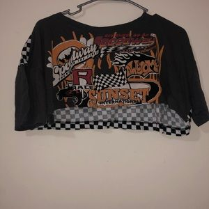 Cropped racing checkered crop tee